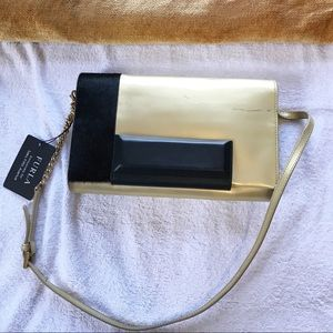 FURLA Womens Fur Patent Leather Shoulder Bag